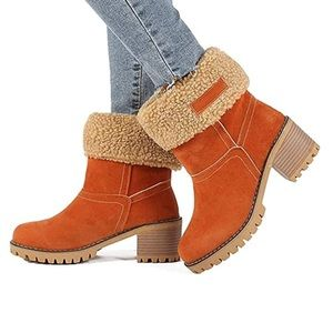 Orange Suede Winter Boots